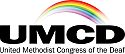 logo of the Congress of the Deaf, a rainbow representing the varieties of hearing conditions, over the letters UMCD